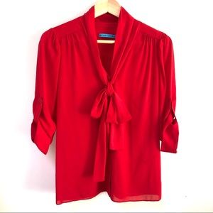 Alice and Olivia Silk button down blouse red sz S